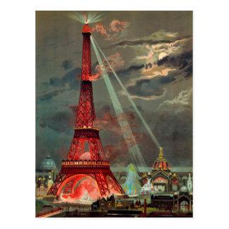 La torre Eiffel en postal roja