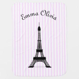 La torre Eiffel francesa rayada rosada del tema Mantita Para Bebé