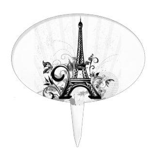 La torre Eiffel fresca remolina mariposa de las sa Decoración Para Tarta