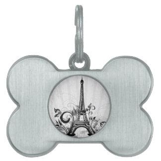 La torre Eiffel fresca remolina mariposa de las sa Placa De Mascota