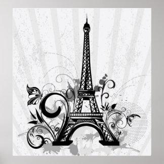 La torre Eiffel fresca remolina mariposa de las sa Poster