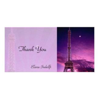 La torre Eiffel le agradece tarjeta de la foto Tarjeta Fotografica Personalizada