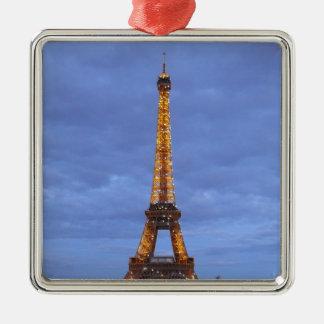 La torre Eiffel París Francia Adorno Navideño Cuadrado De Metal