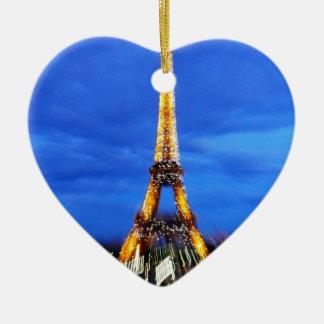 La torre Eiffel París Francia Adorno Navideño De Cerámica En Forma De Corazón