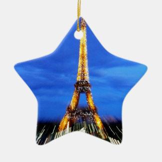 La torre Eiffel París Francia Adorno Navideño De Cerámica En Forma De Estrella