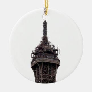 La torre Eiffel París Francia Adorno Navideño Redondo De Cerámica