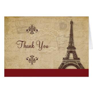 La torre Eiffel parisiense le agradece Tarjeta Pequeña