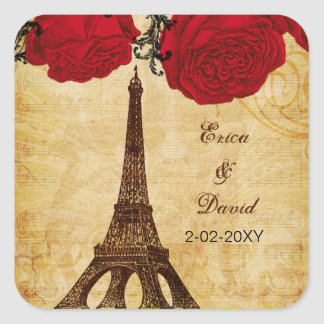 la torre Eiffel roja París del vintage envuelve Pegatina Cuadrada