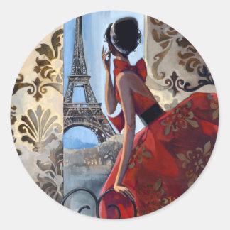La torre Eiffel, vestido rojo, nos dejó va Pegatina Redonda