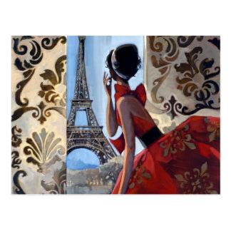 La torre Eiffel, vestido rojo, nos dejó va Postal