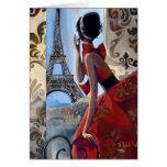 La torre Eiffel, vestido rojo, nos dejó va Tarjeta