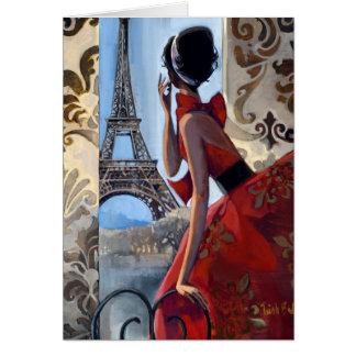 La torre Eiffel, vestido rojo, nos dejó va Tarjeta De Felicitación