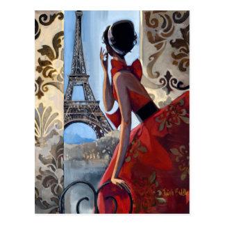 La torre Eiffel, vestido rojo, nos dejó va Tarjetas Postales