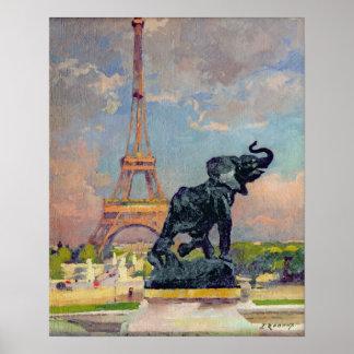 La torre Eiffel y el elefante por Fremiet Poster
