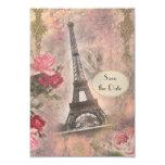 La torre Eiffel y los rosas elegantes lamentables Invitacion Personalizada