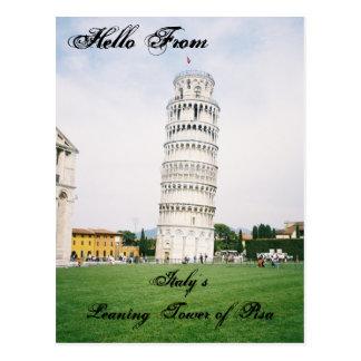 La torre inclinada de Italia de la postal de Pisa
