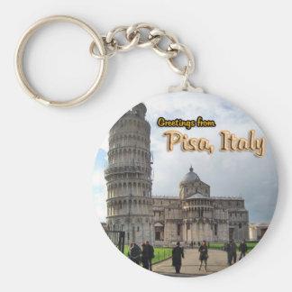 La torre inclinada de Pisa, Italia Llavero Redondo Tipo Pin