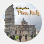 La torre inclinada de Pisa, Italia Etiqueta Redonda