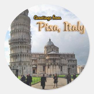 La torre inclinada de Pisa, Italia Pegatina Redonda