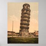 La torre inclinada de Pisa, Toscana, Italia Póster