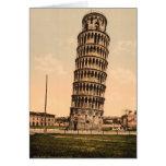 La torre inclinada de Pisa, Toscana, Italia Tarjeton