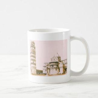 La torre inclinada de Pisa, vintage, taza