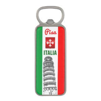La torre inclinada de Pisa y de la bandera Abrebotellas Magnético