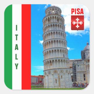 La torre inclinada de Pisa y de la cruz de Pisan Pegatina Cuadrada