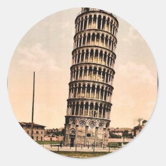 La torre inclinada, obra clásica Photochrom de Pegatina Redonda