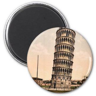 La torre inclinada, obra clásica Photochrom de Pis Imán Redondo 5 Cm