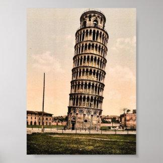 La torre inclinada, obra clásica Photochrom de Pis Póster