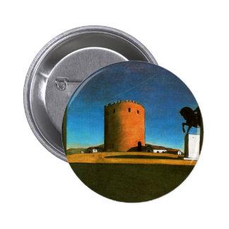 La torre roja de Giorgio de Chirico 1913 Pin Redondo De 2 Pulgadas