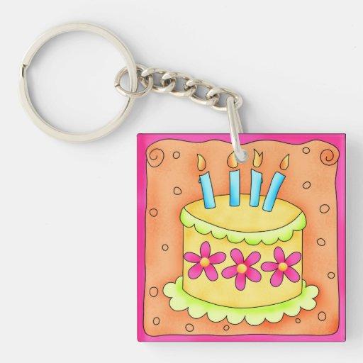 La torta de cumpleaños amarilla y verde florece el llavero cuadrado acrílico a una cara
