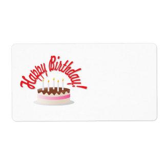 La torta de cumpleaños etiqueta de envío
