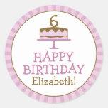 La torta de cumpleaños personalizada embroma a los pegatinas redondas