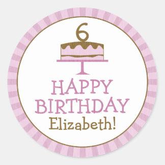 La torta de cumpleaños personalizada embroma a los pegatina redonda