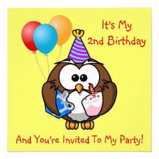 La torta de los globos del búho embroma año del invitacion personalizada