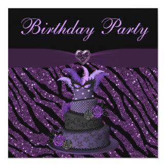La torta púrpura de la diva y imprimió cumpleaños invitación 13,3 cm x 13,3cm