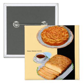 La torta retra Apple del kitsch del vintage subió  Pin Cuadrada 5 Cm