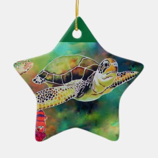 La Tortue Green Sea Turtle Double-Sided Star Ceramic Christmas Ornament