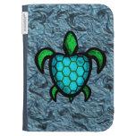 La tortuga azul de Shell enciende la caja en folio