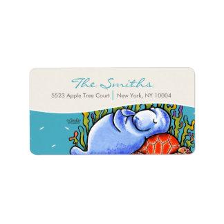 La tortuga de mar del Manatee pesca el azul del ma Etiqueta De Dirección