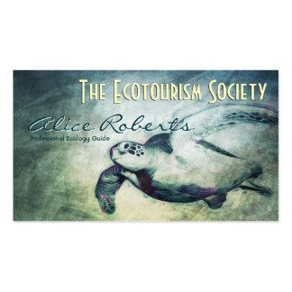 La tortuga de mar/la ecología dirige la plantilla tarjetas de visita