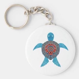 La tortuga de mar tribal llavero redondo tipo pin