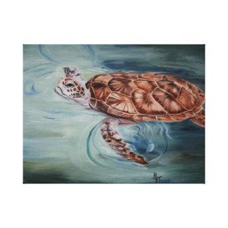 La tortuga de mar verde envolvió la impresión de l impresión en lienzo estirada