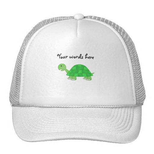 La tortuga del bebé en verde se descolora gorros bordados