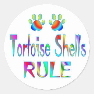 La tortuga descasca regla pegatina redonda