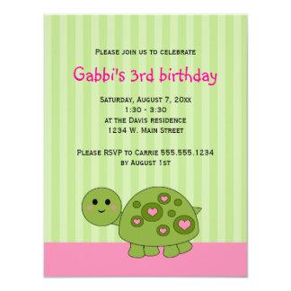 """La tortuga embroma invitaciones verdes rosadas del invitación 4.25"""" x 5.5"""""""