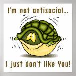 la tortuga no antisocial apenas no tiene gusto de  poster