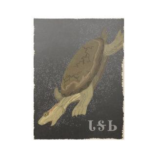 La tortuga se zambulle demasiado profundamente póster de madera
